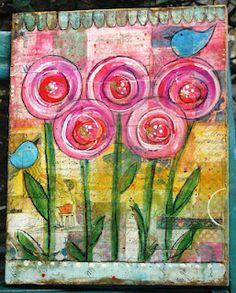Journal idea using circle flowers via 'silverfootprints.blogspot' ♥≻★≺♥