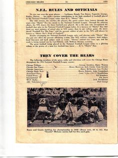 """In 1954 Hugh Ray suffered a near fatal accidental fall at his daughter's suburban Chicago home. In response George Halas his close friend and colleague paid Ray this glowing tribute in the 1954 Chicago Bears Game Program:  """"No one, not even the great players. . . Luckman, Baugh, Van Buren, Nagurski, Grange Battles, Hutson . . . has made a greater contribution to the high standard of football played in the National Football League than H. L. """"Shorty"""" Ray."""