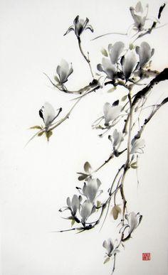 Japanese magnolia Suibokuga ink painting Sumi-e  by Suibokuga