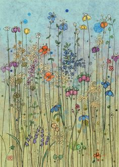 Another beautiful card from Bug Art, called The Meadow. Watercolor And Ink, Watercolor Flowers, Watercolor Paintings, Owl Paintings, Bug Art, Deco Floral, Guache, Flower Doodles, Whimsical Art