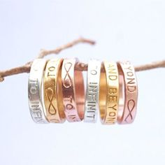 beautiful rings in silver, gold, and rose gold #infinity