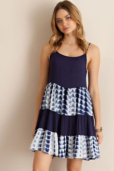 Navy tie dye tiered strappy dress