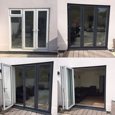 Before & after. Old white UPVC doors out and a new Slide & Swing Door in Anthricate Grey on White installed in Wyke Regis, Weymouth, Dorset, by Bosworth Glass & Windows. 01305 769227