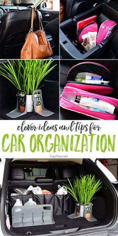 Clever Ideas and Tips for Car Organization is part of crafts Organization Cleanses - Most of us spend a lot of time in our vehicles Don't let your car turn into a dumping ground Keep it tidy with these clever ideas for car organization Car Cleaning Hacks, Car Hacks, Car Life Hacks, Hacks Diy, Sprinter Camper, Car Essentials, Car Storage, Diy Car, Car Travel