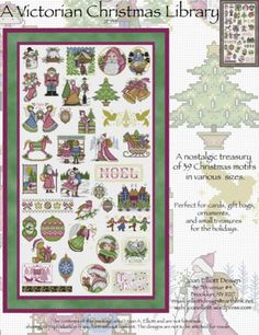 A Victorian Christmas Library is the title of this cross stitch pattern from Joan Elliott Design.