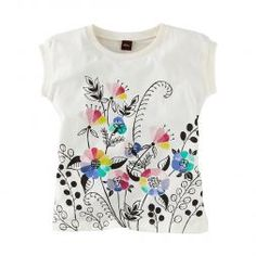 DIY with stamp and sharpie on cheap-o tee from Walmart. Flowery Little Girls Graphic Tee Shirt | Tea Collection