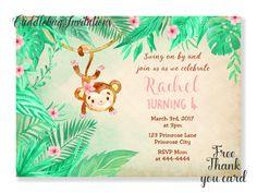 Pink Girl Monkey Birthday Invitation  Pink by CuddleBugInvitations