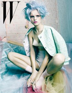 w korea, candy hair, candy colored, rainbow hair, korea, editorial, haute couture, w magazine, audrey kitching