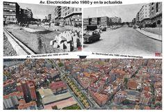 Av. Electricidad año 1980 y en la actualidad.
