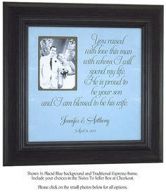 Grooms Parents Wedding Gift by PhotoFrameOriginals