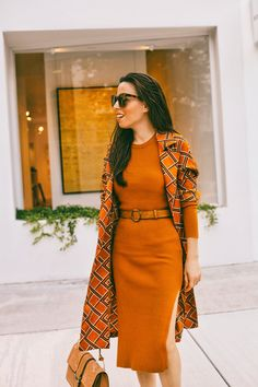 Orange Dress Outfits, Casual Dress Outfits, Spring Fashion Outfits, Fall Outfits, Fashion Ideas, Burnt Orange Dress, Orange Fashion, Professional Outfits, Aesthetic Clothes