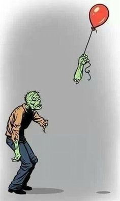 The struggle is real for zombies. Zombie lost his hand while holding the balloon. Zombie Kunst, Arte Zombie, Zombie Art, Funny Zombie, Zombie Pics, Theme Halloween, Halloween Humor, Halloween Makeup, Halloween Pics