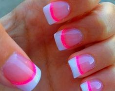 French nails with pink acrylic – Cool manicure for you Neon Nails, Love Nails, How To Do Nails, Pink Tip Nails, Vegas Nails, Cheetah Nails, Hot Pink Nails, Fancy Nails, Trendy Nails