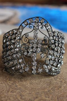 SOLD to T Wide Antique Rhinestone Paste Wings Bangle by ALTaeR