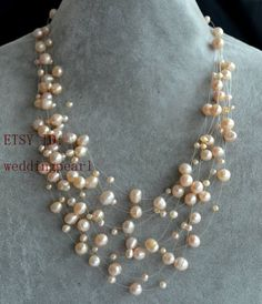 Jewelry & Watches Illusion Floating Necklace With 6mm Cream Glass Pearls 100% High Quality Materials