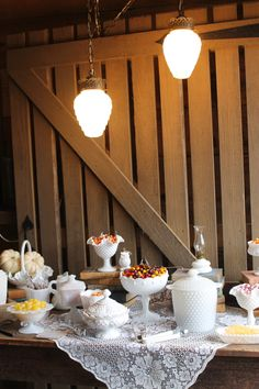 Southern Vintage Rentals milk glass candy bar at Vinewood's Fall Open House