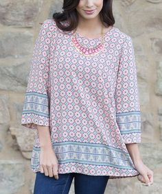 Pink & Blue Circle Bell-Sleeve Top by Pinkblush #zulily #zulilyfinds