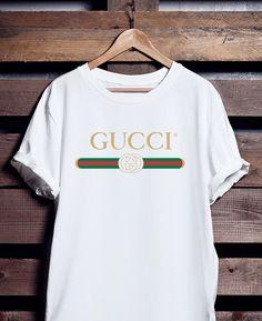 ... T shirt blanca camiseta Gucci inspirado tee camisa unisex Gucci  cinturón logo - Givenchy Gosha Givenchy Versace