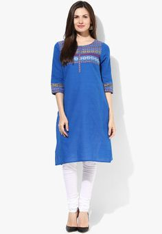 Blue Embroidered Kurta Blue coloured solid kurtas for women by Aurelia. Crafted from 100% cotton this , 3/4th sleeves kurtas has round neck. It comes in regular fit. http://jbo.ng/dnLUHwx