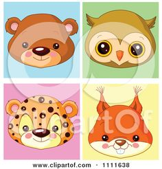 Clipart Cute Bear Owl Leopard And Squirrel Avatar Faces - Royalty Free Vector Illustration by Pushkin
