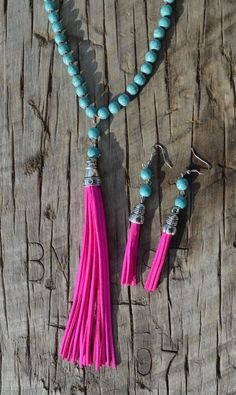 Cowgirl Gypsy Boho HOT PINK FRINGE Turquoise Festival Necklace set #Unbranded