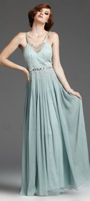 1930's Style Grecian Silver Beaded Elegant Prom Dress #prom