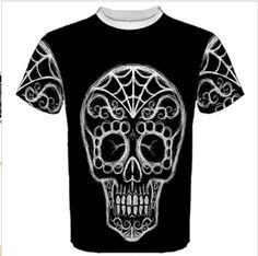 Sugar Skull Day of the Dead Sports T by ThreadsoftheDead on Etsy, $32.00