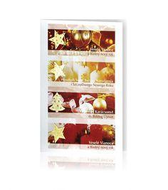 Kartka świąteczna B 385: Biały papier z nadrukowaną kolorową grafiką. Po lewej stronie kartki są złote, wypukłe świąteczne motywy. Na kartce umieszczone są teksty w kilku językach.