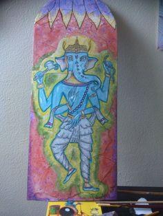 """título """"Ganesha"""" Técnica mixta Realizado sobre una tabla rota preparada como lienzo"""