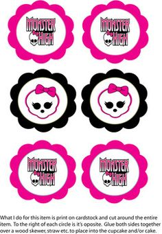Monster High Cupcake Top, Monster High, Party Decorations - Free Printable Ideas from Family Shoppingbag.com