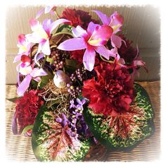 Handmade Artificial Floral Arrangement: Colorful Basket of Flowers with Bird in Bird's Nest (Handmade) www.etsy.com/shop/kshandmadeflorals $35.99 by kshandmadeflorals