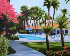 Palm Springs Painting, 20 x 16, Oil Painting, Original Art, Tropical Painting, Resort Art, La Quinta Resort Art, Palm Tree Art, Pool Art by CFineArtStudio on Etsy