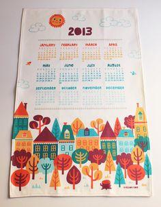 2013 Tea Towel Calendar by bangbangyourethread on Etsy, $22.00