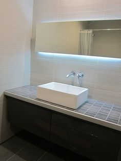behind mirror lighting. godmorgon sink cabinet 15 with a custom top built frame and tiled was secured to the wall read entire conversation re lighting behind mirror
