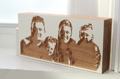 wooden family portrait