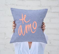 Grey and Neon Coral Te Amo Pillow, inches Deco Font, Grey And Coral, Gifts Australia, Decorating Small Spaces, Decorative Accessories, Drink Sleeves, Girly Things, Make Me Smile, Diy Design