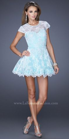 Illusion All-Over Lace Jeweled Cocktail Dresses by La Femme