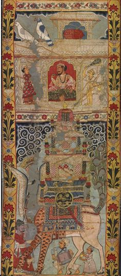 Scenes from the legend of Gazi - Part 11 -  a scroll painting - Murshidabad District Bengal India - Circa 1800 This is a story of miracle-working Muslim saints, including Gazi and Manik. This type of long scroll painting was used by itinerant storytellers in rural Bengal, as a visual aid to a spoken narration of the myths and exploits of the painted scenes.