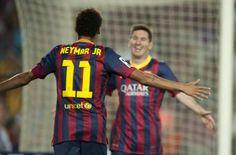 #MejoresImagenesDel2013  La celebración de un gol, por parte de las dos figuras estelares del FC Barcelona.