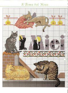 Io amo il mio gatto schema punto croce (1) - magiedifilo.it punto croce uncinetto schemi gratis hobby creativi