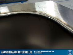 Kitchen sink in steel weld detail
