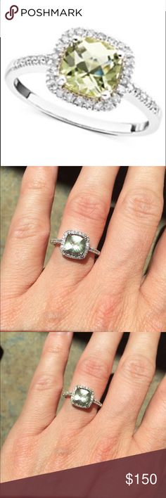 White Gold Ring with Green Quartz and Diamond Sparkling 10K white gold ring with green Quartz (1-1/10 ct. t.w.) and diamond (1/5 ct. t.w.) in excellent condition. Only worn for a few months. Very pretty! Macy's Jewelry Rings