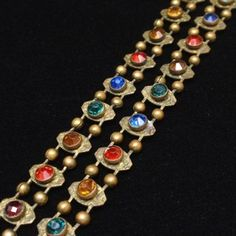 2-Strand Vintage Bracelet with Multi-Colored Stones