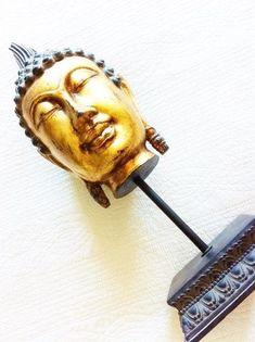 Vintage Burnished Gold Sacred India Buddha Bust on Pedestal Base, Statue of Worship, Olives and Doves