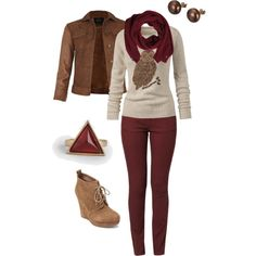 """""""Women's Maroon and Brown Fall Outfit"""" by jessicaschmidt on Polyvore"""
