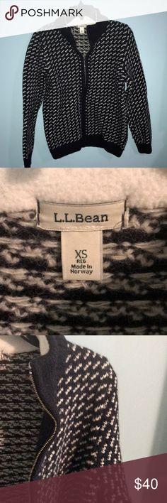 ONE DAY SALE- L. L. Bean zip up 100% wool sweater Beautiful sweater L.L. Bean Sweaters