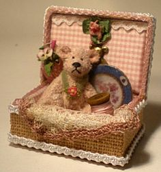 Bear in a Box 1/12th scale by TheShabbyGardener on Etsy, $61.00