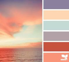 Like a sunset on the beach - coral, light blue tan