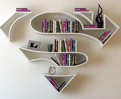 Estanterías con forma de logotipos de superhéroes por Burak Doğan