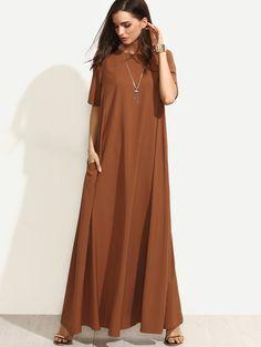 Brown Short Sleeve Zipper Back Maxi Dress | MakeMeChic.COM